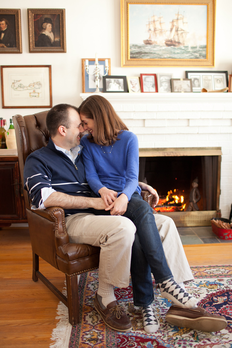 Cozy Winter Engagement Session Washington DC Fireplace Snow Photos by Liz and Ryan (14)