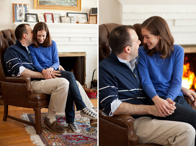 Cozy Winter Engagement Session Washington DC Fireplace Snow Photos by Liz and Ryan (12)