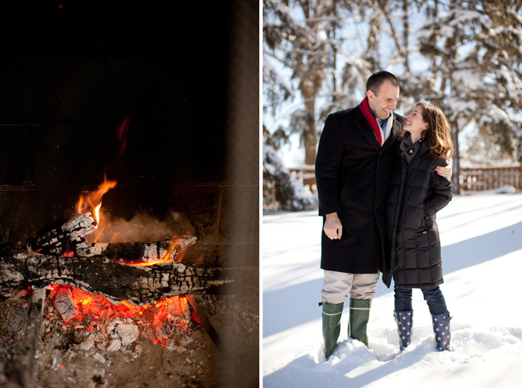 Cozy Winter Engagement Session Washington DC Fireplace Snow Photos by Liz and Ryan (8)